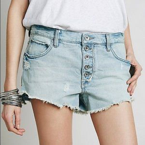 FREE PEOPLE RUN AWAY BUTTON FLY DENIM SHORTS
